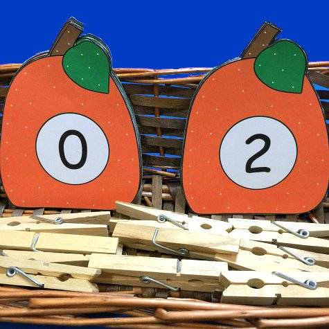 pumpkin number match clip for preschool and kindergarten.