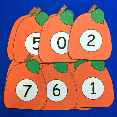pumpkin number match and clip for preschool kindergarten