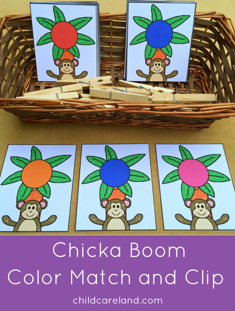chicka chicka boom boom color match and clip for presschool and kindergarten