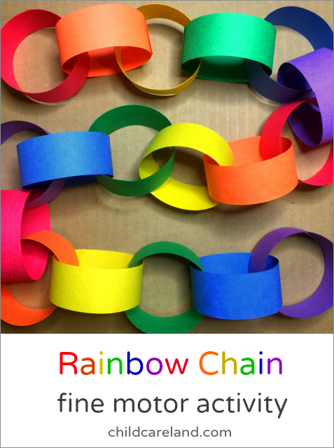 Rainbow Chain Fine Motor Activity For Preschool and Kindergarten