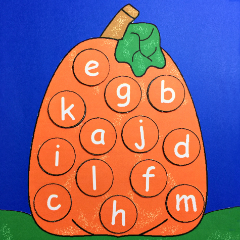 pumpkin alphabet match for preschool and kindergarten