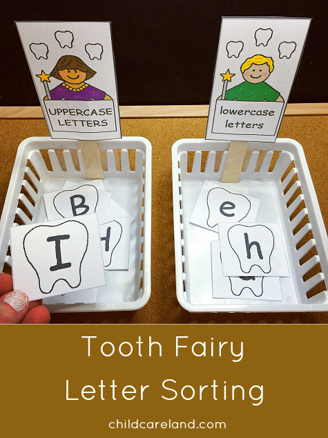 Tooth Fairy Letter Sorting Activity For Preschool and Kindergarten