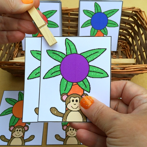 chicka chicka boom boom color match and clip for preschool and kindergarten