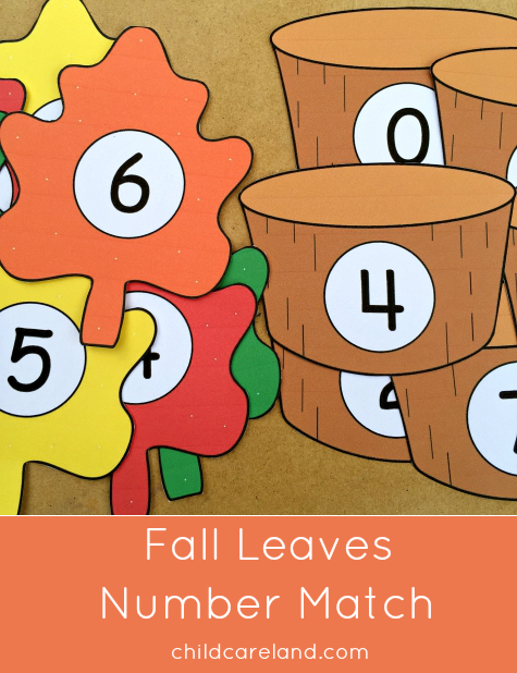 fall leaves number match for preschool and kindergarten