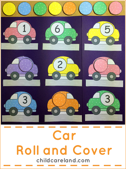 Car Roll and Cover File Folder Game