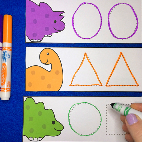 dinosaur shape tracers for prescool and kindergarten
