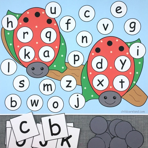 ladybug alphabet pick and cover for preschool and kindergarten