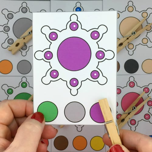 snowflake color clip cards for preschool and kindergarten