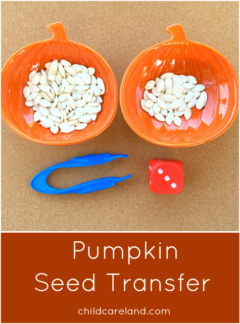 Pumpkin Seed Transfer Preschool and Kindergarten Math and Fine Motor Activity