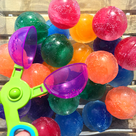 Colored Ice Balls Sensory and Sorting Activity for Preschool and Kindergarten