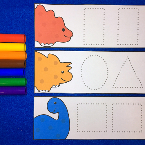 dinosaur shape tracers for preschool and kindergarten