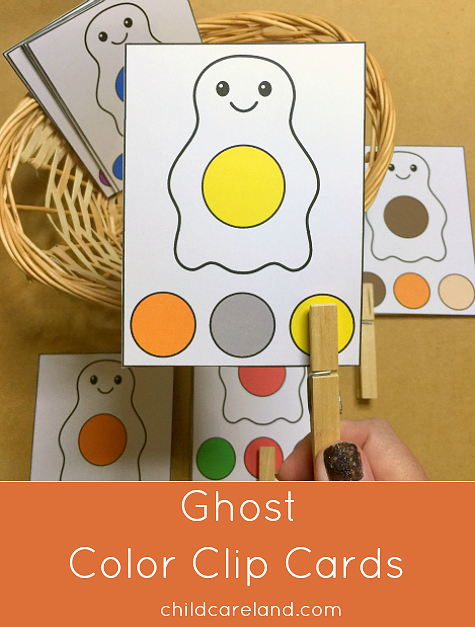 ghost color clip cards for preschool and kindergarten