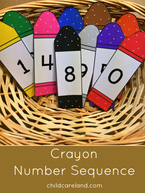 Crayon number sequence for preschool and kindergarten.
