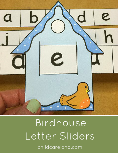Birdhouse Letter Sliders For Preschool and Kindergarten