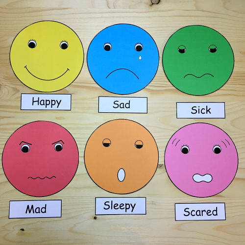 Feelings faces for Emotion art projects