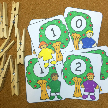 Apple Tree Number Match and Clip Preschool and Kindergarten Math Activity
