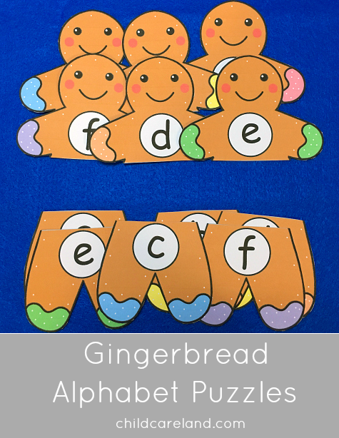 gingerbread alphabet puzzles for preschool and kindergarten