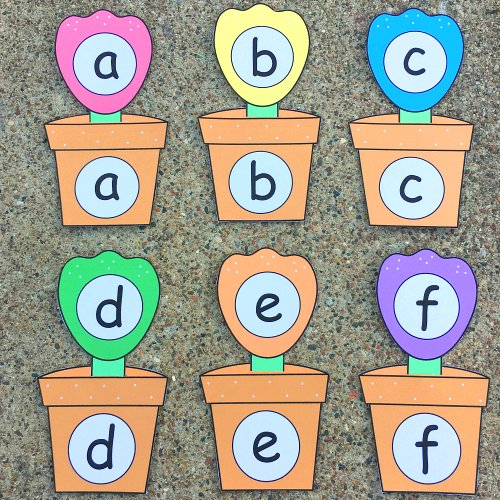 flower pot alphabet match for preschool and kindergaren