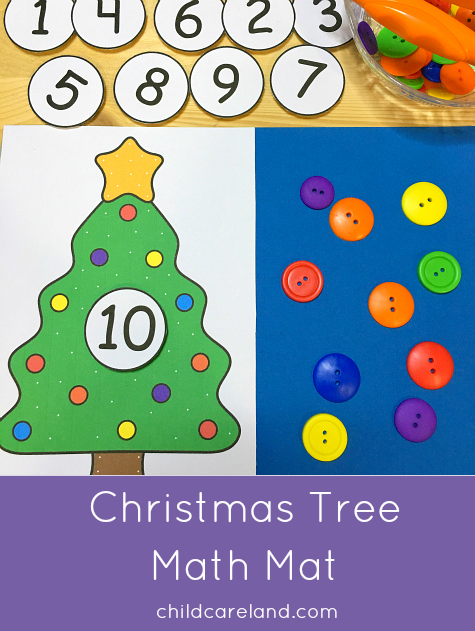 christmas tree math mat for preschool and kindergarten