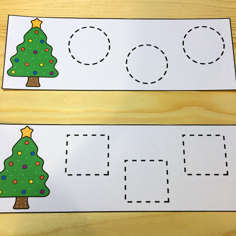 christmas tree shape tracing for preschool and kindergarten