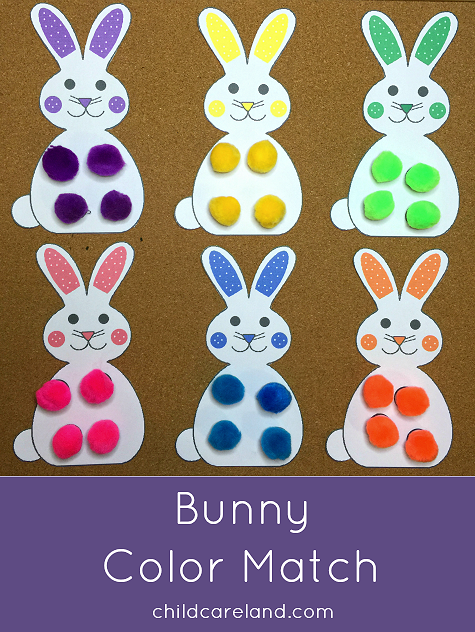 Bunny Color Match Toddler and Preschool Learning Activity