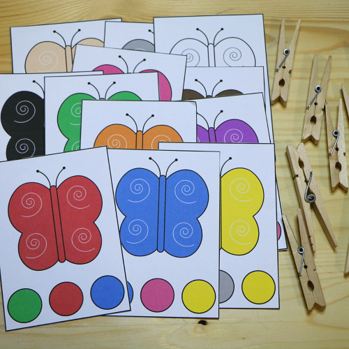 butterfly color clip cards for preschool and kindergarten