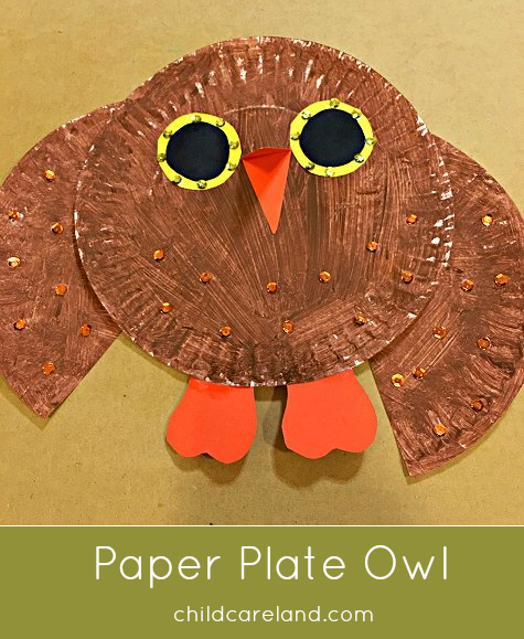 paper plate owl craft project for preschool and kindergarten