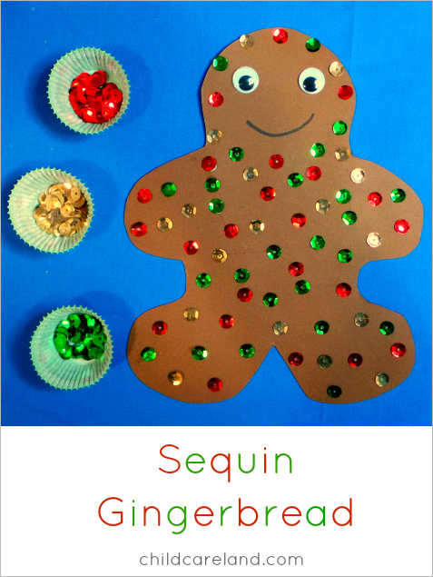 sequin gingerbread fine motor craft project for preschool and kindergarten