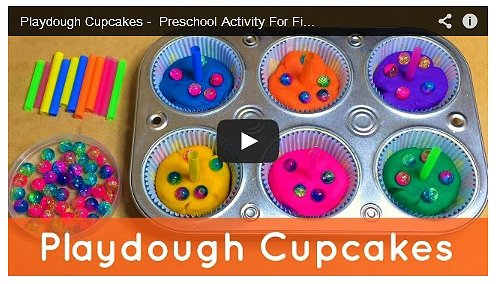 Playdough Cupcakes Fine Motor and Sensory Activity Preschool Activity