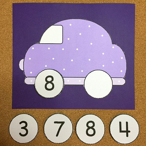 Car Number Match Preschool Learning Activity