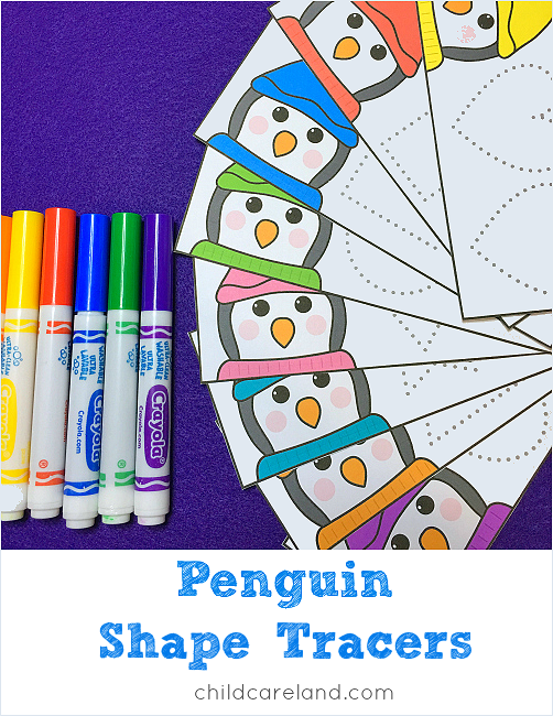 penguin shape tracers for preschool and kindergarten