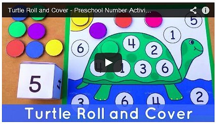 Turtle Roll and Cover Preschool Math Activity