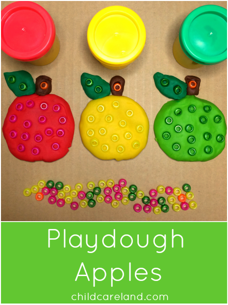 Playdough Apples For Preschool and Kindergarten Fine Motor Development