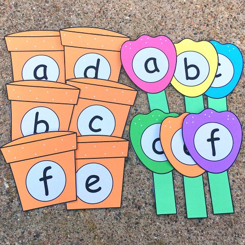 flower pot alphabet matchfor preschool and kindergarten