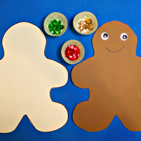 sequin gingerbread fine motor craft for preschool and kindergaten