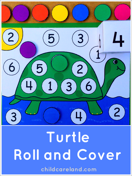 Turtle Roll and Cover Preschool Match Center Activity