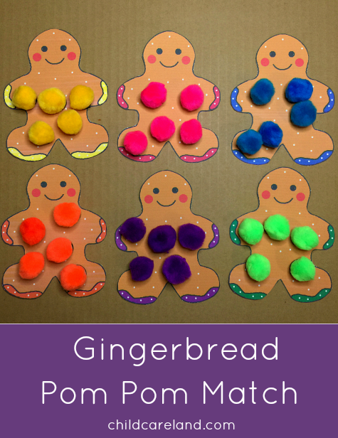 Gingerbread Pom Pom Match Fine Motor Skills and Color Recognition Activity for Preschool and Kindergarten