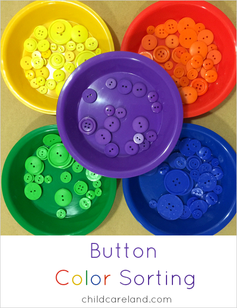 Button color sorting for preschool and kindergarten
