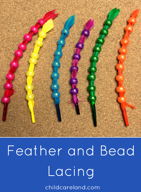 Feather and Bead Lacing Fine Motor Activity For Preschool and Kindergarten