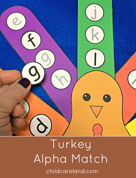 turkey alphabet match for preschool and kindergarten
