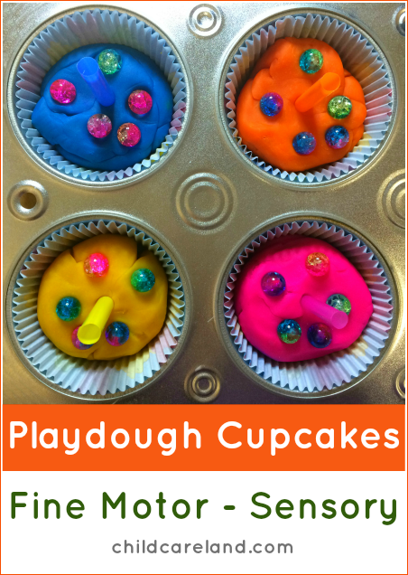 Playdough Cupcakes Fine Motor and Sensory Activity For Preschool