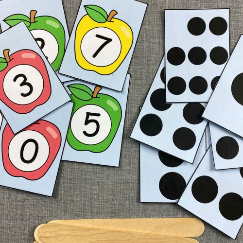 apple number match sticks for preschool and kindergarten