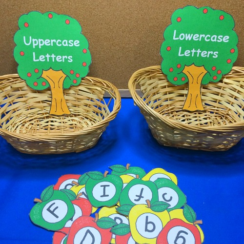 apple letter sorting for preschool and kindergarten