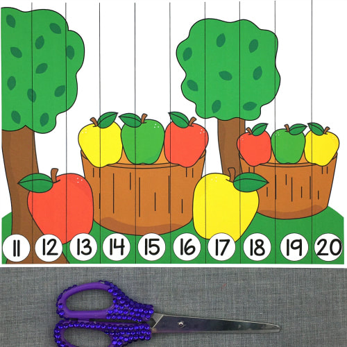apple number sequence puzzles for preschool and kindergarten