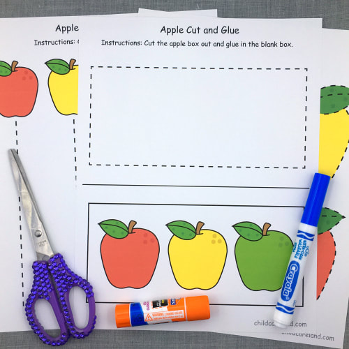 apple fine motor sheets for preschool and kindergarten