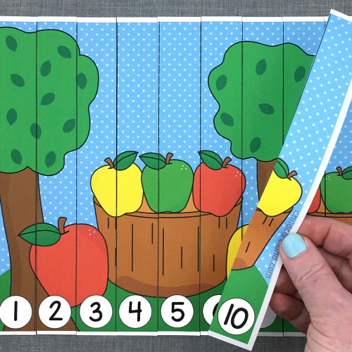 apple basket number sequence puzzle for preschool and kindergarten