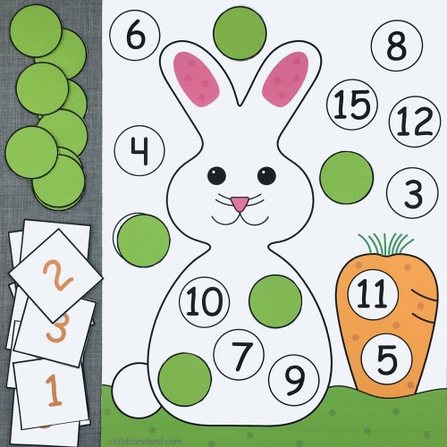 bunny number pick and cover for preschool and kindergarten