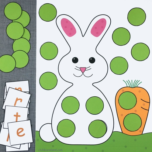 bunny alphabet pick and cover for preschool and kindergarten