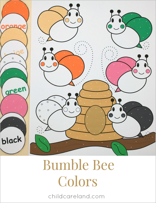 bumble bee color match for preschool and kindergarten
