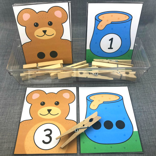 teddy bear number match and clip for preschool and kindergarten